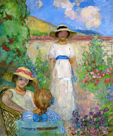 Lebasque, Henri Three Girls in a Garden oil painting picture