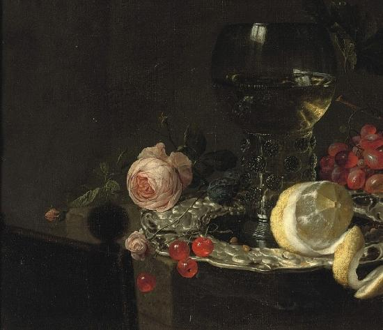 simon luttichuys A 'Roemer' with white wine, a partially peeled lemon, cherries and other fruit on a silver plate with a rose and grapes on a stone ledge oil painting image
