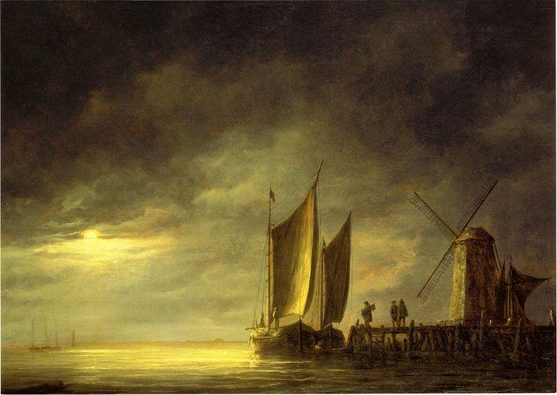 Aelbert Cuyp Fishing boats by moonlight. oil painting image