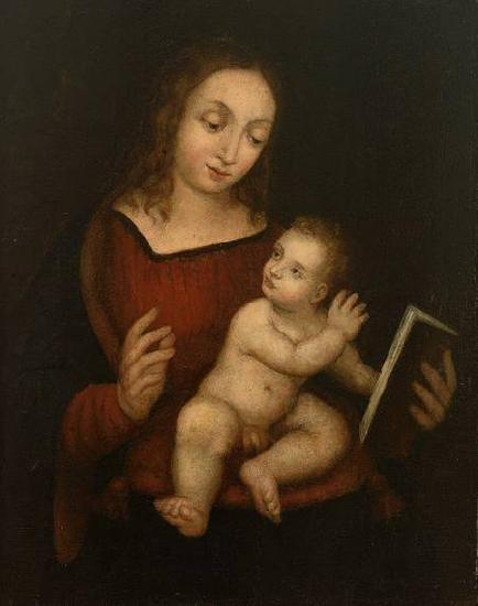 Anonymous Virgin Mary, reading, with the Child oil painting image