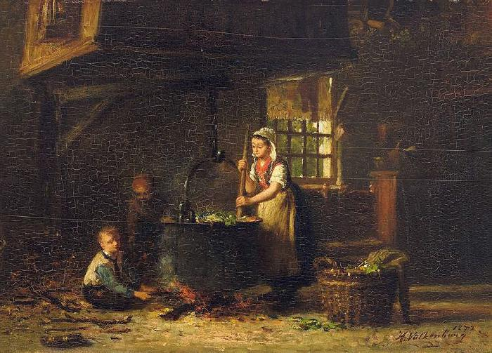 Hendrik Valkenburg An old kitchen with a mother and two children at the cauldron Germany oil painting art