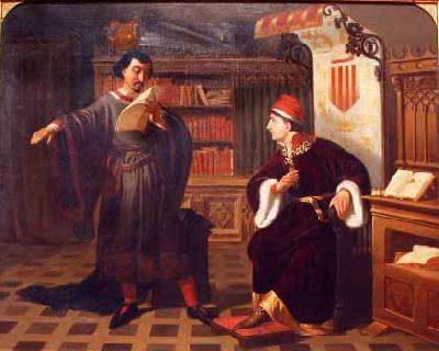 Agustin Riancho Y Gomez De Porras Ausias March and the Prince of Viana oil painting image