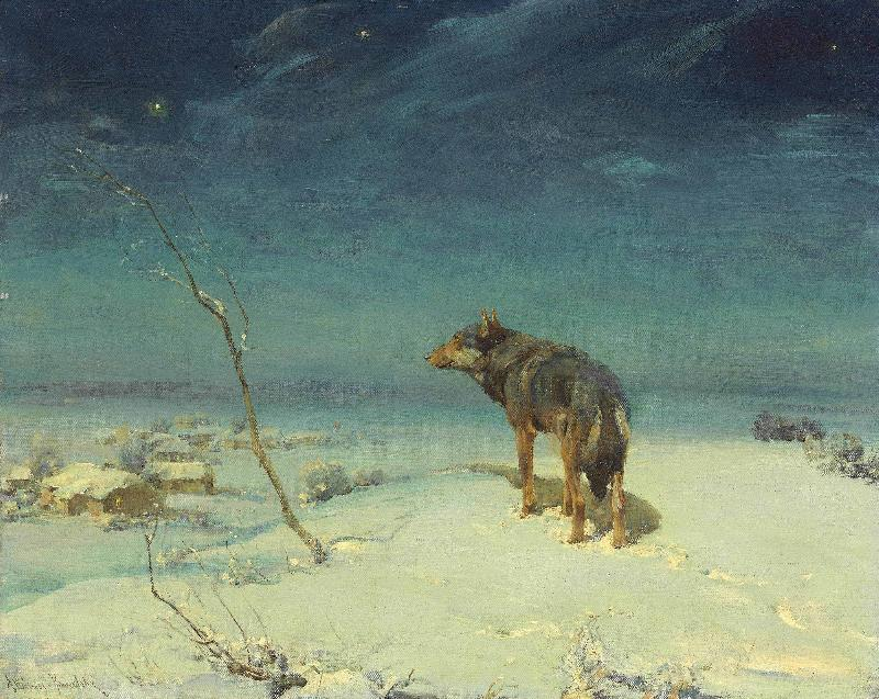 Alfred de Dreux The lone Wolf oil painting image