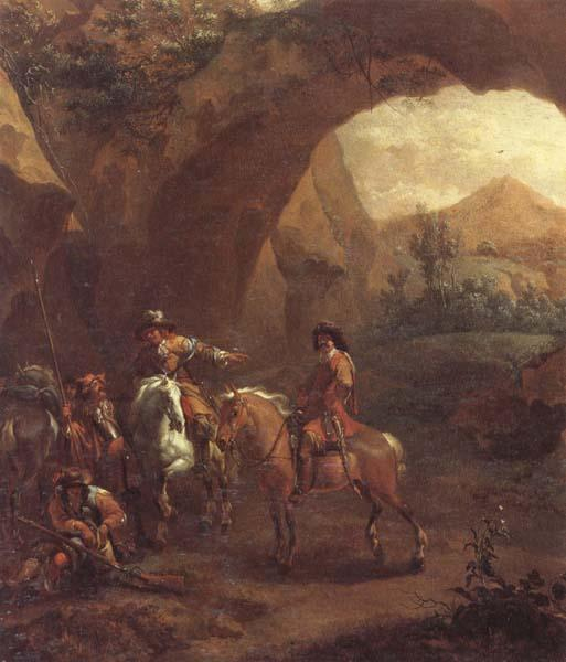 Adam Colonia Landscape with troopers and soldiers beneath a rocky arch oil painting image