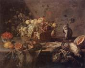 Adriaen Van Utrecht Still life of a basket of apples,grapes,plums,figs,gooseberries and redcurrants,together with a monkey,artichokes,celery,a melon,a pomegranate,a lemon oil painting image