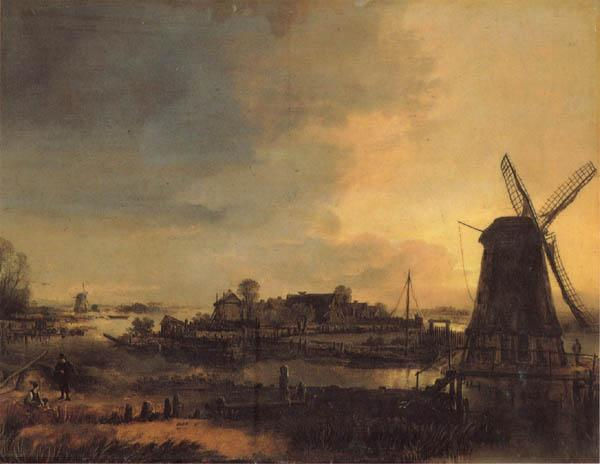 Aert van der Neer Landscape with a Mill oil painting image