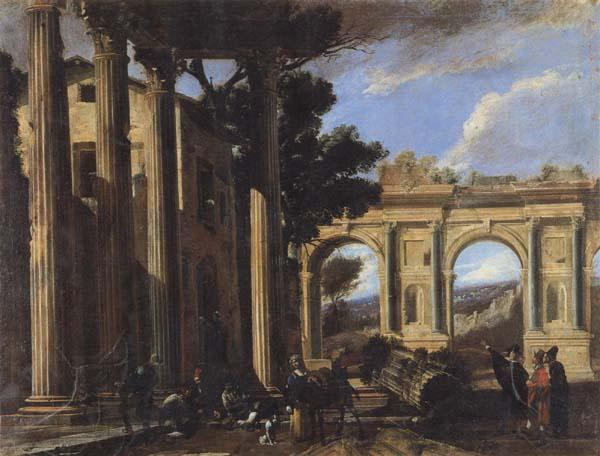 CODAZZI, Viviano Arcitectural View with Two Arches oil painting image