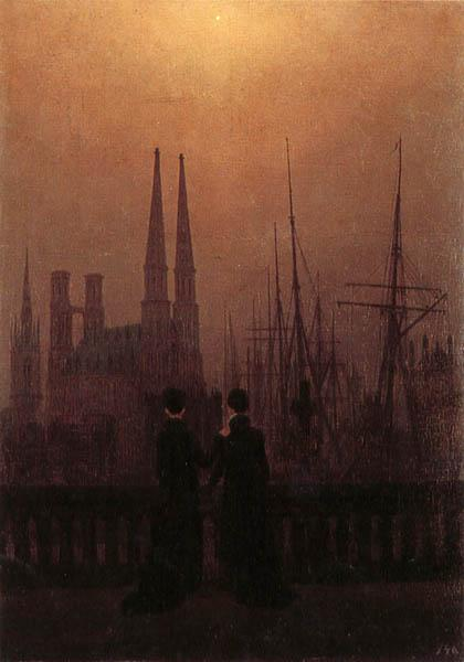 Caspar David Friedrich Harbor at Night oil painting image