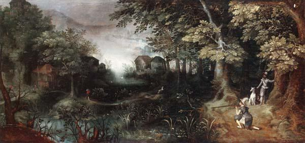 Claes Dircksz.van er heck A wooded landscape with huntsmen in the foreground,a town beyond Germany oil painting art