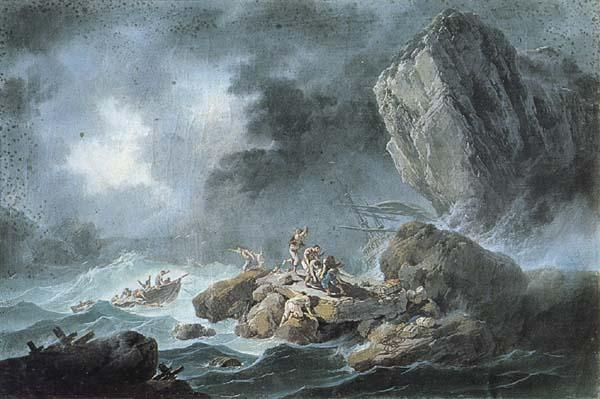 Jean Pillement Seascape with a Shipwreck oil painting image