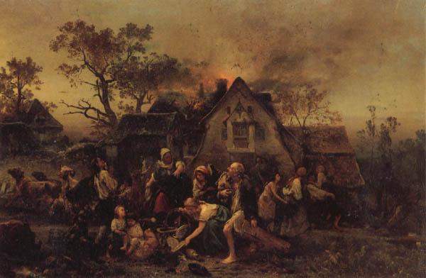 Ludwig Knaus A Farm Fire oil painting picture