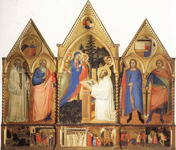 Matteo Di Pacino St.Bernard's Vistonof the Virgin with SS.Benedict,john the Evange-list.Quintinus,and Galgno,The Blessed Redeemer and the Annunciation Stories of the S oil painting image