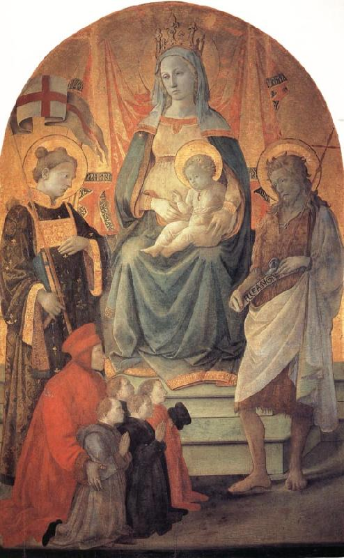 Fra Filippo Lippi The Madonna and Child Enthroned with Stephen,St John the Baptist,Francesco di Marco Datini and Four Buonomini of the Hospital of the Ceppo of Prato oil painting image
