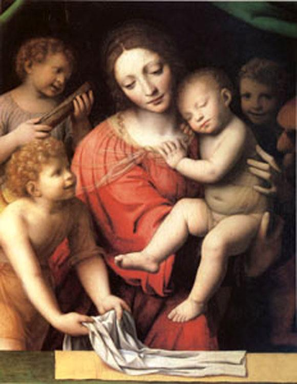 Bernadino Luini The Virgin Carrying the Sleeping Child with Three Angels (mk05) oil painting image