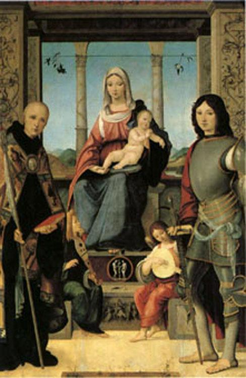 Francesco Marmitta The Virgin and Child with Saints Benedict and Quentin and Two Angels (mk05) oil painting image