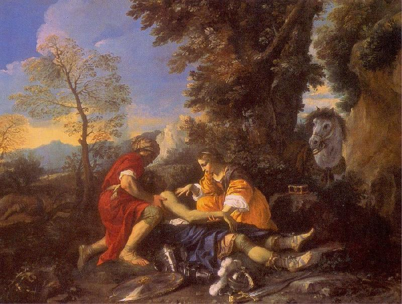 MOLA, Pier Francesco Herminia and Vafrino Tending the Wounded Tancred oil painting image