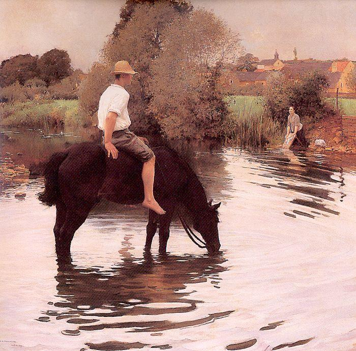 Muenier, Jules-Alexis Young Peasant Taking his Horse to the Watering Hole oil painting image