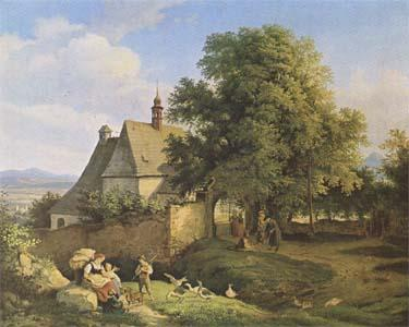 Adrian Ludwig Richter Church at Graupen in Bohemia (mk09) oil painting image