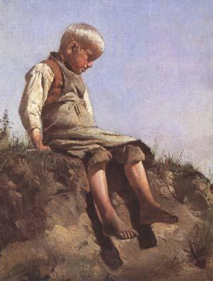 Franz von Lenbach Young boy in the Sun (mk09) oil painting image
