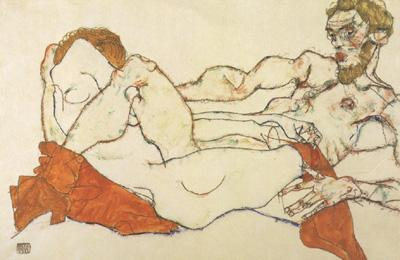 Egon Schiele Recling Male and Female Nude Entwined (mk12) oil painting image