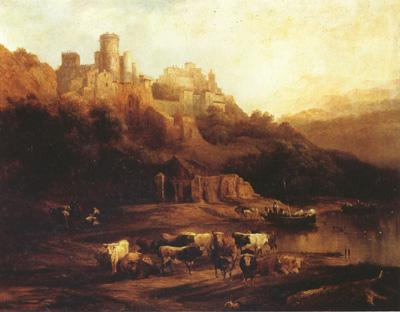 Jenaro Perez Villaamil Herd of Cattle Resting on a Riverbank in Front of a Castle (mk22) oil painting image