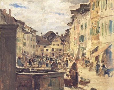 Albert Anker Market in Murten (nn02) oil painting image