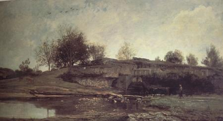 Charles Francois Daubigny The Lock at Optevoz (nn03) oil painting image