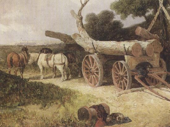 James holland,r.w.s Countryfolk logging (mk37) oil painting image