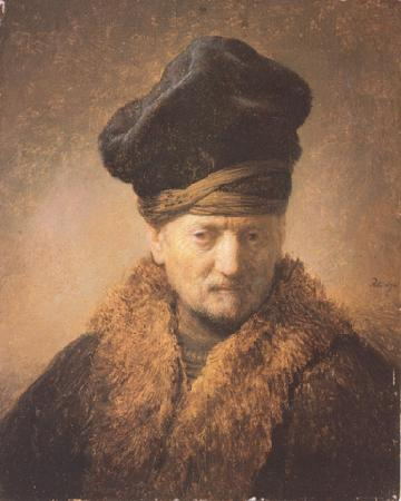 REMBRANDT Harmenszoon van Rijn Bust of an old man in a fur cap (mk33) oil painting image