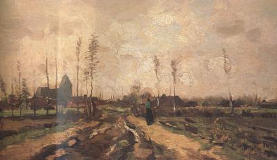 Vincent Van Gogh Landscape with Church and Farms (nn040 oil painting image