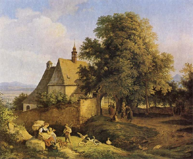 Adrian Ludwig Richter Church at Graupen in Bohemia oil painting image
