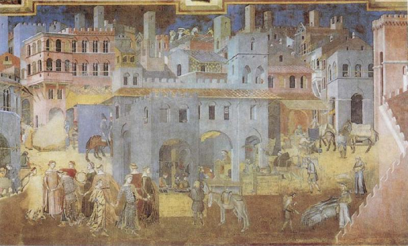 Ambrogio Lorenzetti Life in the City oil painting image