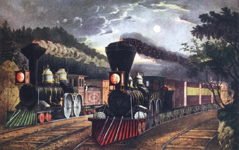 Fanny Palmer The Lightning Express Trains Leaving the junction oil painting image